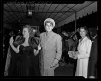 """Actors Jane Wyman and Ronald Reagan arriving at the  """"Tales of Manhattan"""" film premiere in Los  Angeles, Calif., 1942"""
