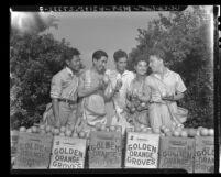 South American men sent to Calif. to study aeronautics picking fruit in La Puente, Calif., 1942
