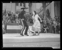 Two dancers perform at Cinco de Mayo program at Los Angeles City Hall, 1943