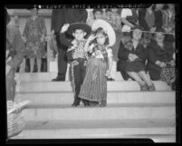Luis Romanos and sister Amalia in costume at Cinco de Mayo celebration in Los Angeles, Calif., 1943