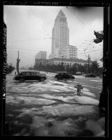 City Hall seen from snow covered intersection of First and Spring Streets in Los Angeles, Calif., 1944