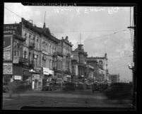 Street scene along 400 block of N. Main Street with Hotel Azteca in Los Angeles, Calif., circa 1925