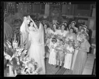 Gloria Flynn, Queen of Sodality Day procession in Los Angeles, Calif., 1944