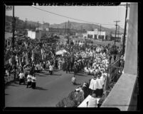 Peace procession of Sacred Heart of Jesus Sacrament from the Plaza Church in Los Angeles, Calif., 1944