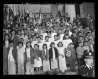 Chinese American children participation in 33rd Anniversary of Chinese Republic ceremony, Los Angeles, 1944