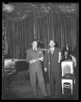 Bob Hope and Bing Crosby entertaining at Los Angeles Times annual sports dinner, 1944