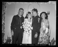 Wedding portrait of Bo Ching Park and Navy SeaBee William Tong with attendants Charles Wilson and Bo Ling Mason, 1945