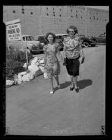 Actress Shirley Temple with her mother Gertrude on way to shop for wedding dress in Los Angeles, Calif., 1945