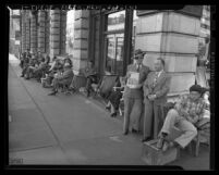 Line of people waiting for Federal Housing Administration permits in Los Angeles, Calif., 1945