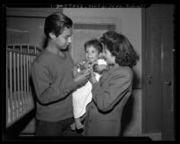Victoria Martinez with her 17- month son and Albert Garcia in Los Angeles, Calif., 1945