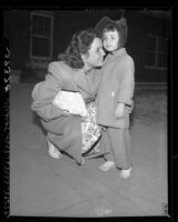Helen Hathor St. Denis and her mother, Mrs. Jean Hathor Hryciuk after verdict in Los Angeles, Calif., 1946