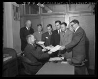 Six Republican candidates filing papers to registrar for run at U.S. Congress in Los Angeles, Calif., 1946