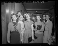 Sigma Iota Chi sorority sisters protesting liquor license outside Los Angeles Board of Equalization, 1946