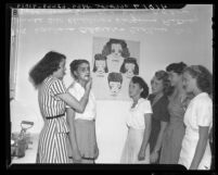 Sunset Cosmetology School students learning how to apply face cream,  Arvin, Calif., 1946