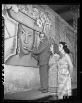 Mexican muralist, Alfredo Ramos Martinez with art student in Los Angeles, Calif., 1946