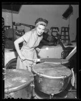Hollywood Bowl symphony orchestra's female tympanist, Nancy Moyer, 1946
