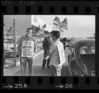 Striking International Association of Machinists, picketing Trans World Airline hangar in Los Angeles, Calif., 1966