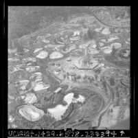 Aerial view of construction of the Los Angeles Zoo, Calif., 1966