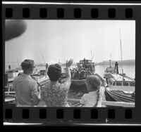 Boys from Glendale YMCA leaving Los Angeles harbor for camp on Santa Catalina Island, 1966