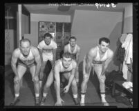 Team of men who play basketball under the name of Jim Hardy's Dynamiters in Los Angeles, Calif., 1949