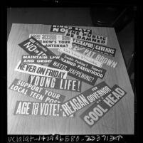 Various bumper stickers, California, 1966