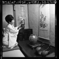 Yaye Karasawa seated in a tokonoma, Los Angeles, Calif., 1966