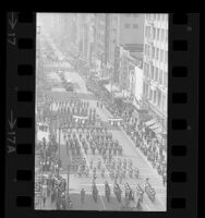 Military unit marching down Broadway during Los Angeles' 185th birthday parade, 1966