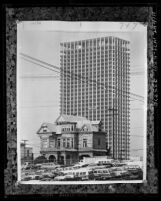 """Bunker Hill Victorian house called """"The Castle"""" standing in front of 42 story Union Bank building in Los Angeles, Calif., 1966"""