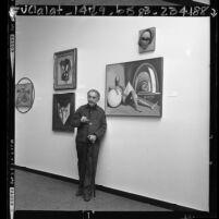 Man Ray at his LACMA exhibition, 1966