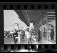 Homemakers Council for Lower Food Prices members picketing grocery store in protest of sweepstakes games in Simi Valley, Calif., 1966