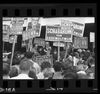 Governor Edmund G. (Pat) Brown surrounded by crowd and campaign signs in West Covina, Calif. , 1966