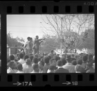 Stokely Carmichael, speaking with crowd at Will Rogers Park in Los Angeles, Calif., 1966