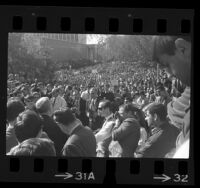 UCLA Chancellor Franklin D. Murphy, addressing students protesting the firing of UC President Clark Kerr, 1967