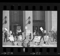"Pickets with signs reading ""We Back Reagan"" and ""Support the Governor"" on steps of Old State Building in Los Angeles, Calif., 1967"