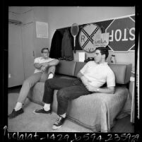 Two male students in their dorm room at UCLA's Sproul Hall, 1967