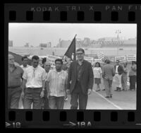 César Chávez, Paul Schrade and other strikers picketing Ford Motor Co. plant at Pico Rivera in Los Angeles, Calif., 1967
