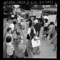 Pickets protesting cutbacks in Medi-Cal program in Los Angeles, Calif., 1967
