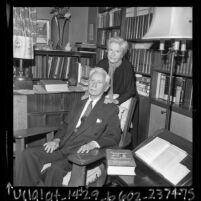 Authors Ariel and Will Durant in library of their home in Los Angeles, Calif., 1967