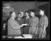 Los Angeles Mayor Frank Shaw with Japanese American Boy Scouts, 1936