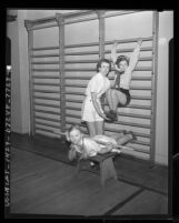 Elizabeth Little instructs Virginia Keller and Barbara Lapp at Y.W.C.A. posture class, 1937