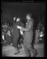 Negro Nite Life on Central Avenue..Series, clubgoers with couple dancing in Los Angeles, Calif., 1938
