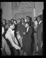Negro Nite Life on Central Avenue..Series, African American couple dancing with onlookers in Los Angeles, Calif., 1938