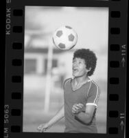 Soccer player Waldir Guerra from Bell High School in Los Angeles, Calif., 1985