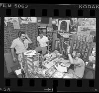 "Radio station KROQ's The Poorman (Jim Trenton), Dr. Drew Pinsky and Scott Mason during ""Loveline"" radio advice show in Los Angeles, Calif., 1985"