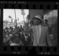 Bernard Walker speaking to demonstrators outside South African Consulate in Beverly Hills, Calif., 1985