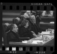 Supreme Court Justice Sandra Day O'Connor, Judges Malcolm M. Lucas and Thomas Reavley presiding at Pepperdine University's 11th annual moot court competition, 1985