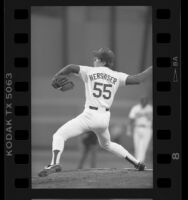 Los Angeles Dodgers' Orel Hershiser mid-pitch, 1985