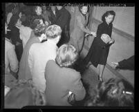 Women garment workers on picket line during strike in Los Angeles, Calif., 1948