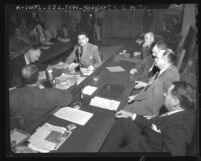 Questioning of two National Farm Labor Union officials at California State Un-American Activities Committee's inquiry in Los Angeles, Calif., 1948