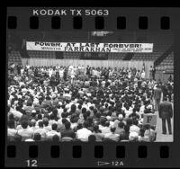 Louis Farrakhan speaking at the Forum in Los Angeles, Calif., 1985